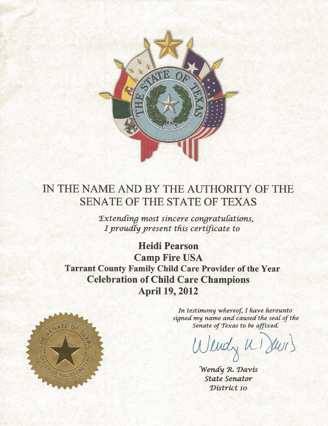 Letter from Senate of Texas Recognizing Heidi Pearson as Family Child Care Provider of the Year