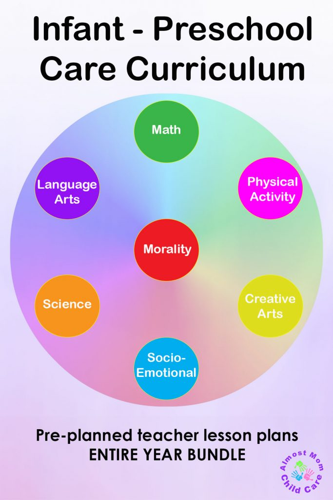 Infant-Preschool Care Curriculum includes math, physical activity, creative arts, socio-emotional, science, language arts, morality